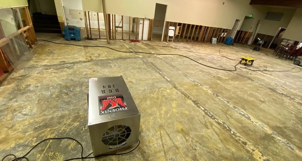 partially dried basement with water damage restoration machines | DryCare Restoration Water Fire Mold Damage Crime Scene Cleanup, Los Angeles Ventura Orange County