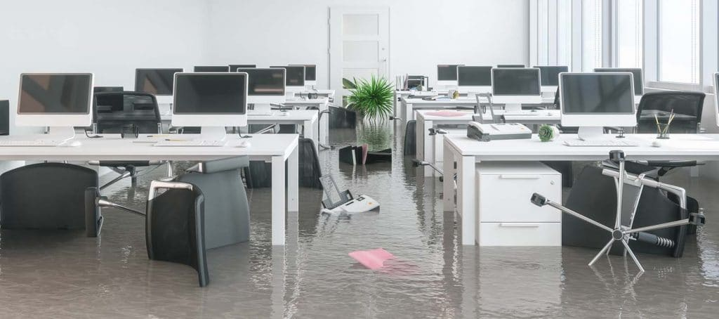 flood and water damage inside a business office | DryCare Restoration Team | Best Water Fire Mold Damage Restoration and Crime Scene Cleanup in Southern California